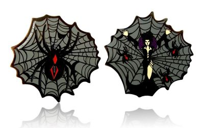 Black Widow Geocoin Black Nickel