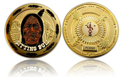 Sitting Bull Geocoin Poliertes Gold