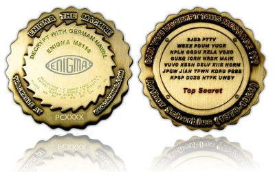 Enigma Geocoin Antik Gold