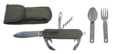 Taschenmesser mit Gabel, Löffel, Dosenöffner