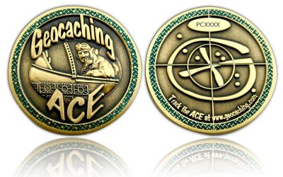 Geocaching Ace Geocoin Antik Gold