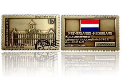Geocacher's World Geocoin -NETHERLANDS- Antik Gold