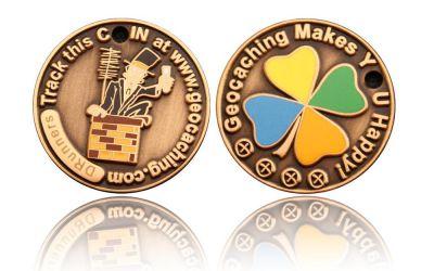 Happy Caching - Chimney Sweeper Geocoin Antik Gold