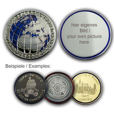 MyWorld Geocoin mit individuellem Foto (Poliertes Silber/Blau)
