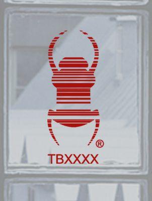 Groundspeak Travelbug® Aufkleber ROT, konturgeschnitten