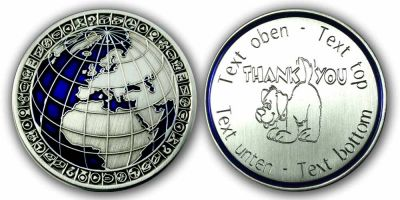 My World Geocoin -THANK YOU- mit eigenem Gravurtext