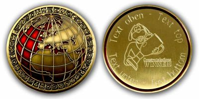 My World Geocoin -WINNER- mit eigenem Gravurtext