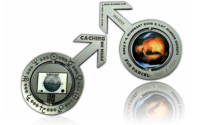 Caching on the Mars Geocoin Antik Silber