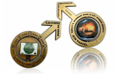 Caching on the Mars Geocoin Antik Gold ♂