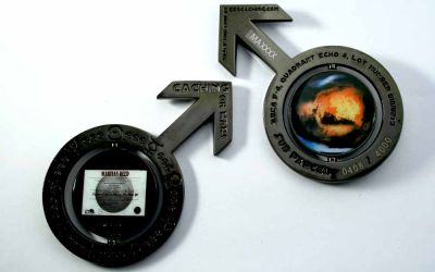 Caching on the Mars Geocoin Black Nickel