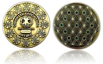 The Colors of Geocaching Geocoin - NATURE - Antik Gold
