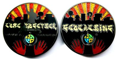 Come Together 2011 Geocoin Black Nickel RED XLE 75