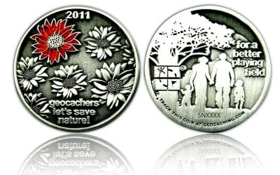 Save our Playing Field 2011 Geocoin Antik Silber