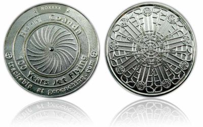 100 Years Jet Flying Geocoin Poliertes Silber XLE
