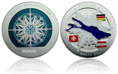 Winter BBQ Geocoin Satin Silber Blau