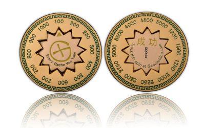 Cache Counter Coin Poliertes Gold