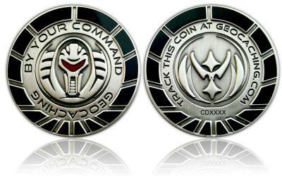 By Your Command Geocoin Antik Silber Black
