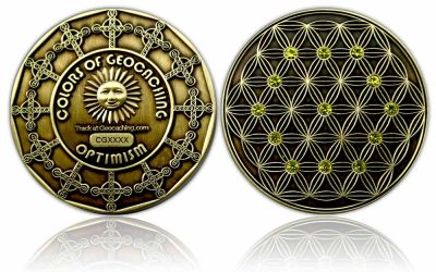 The Colors of Geocaching Geocoin - OPTIMISMUS - Antik Gold