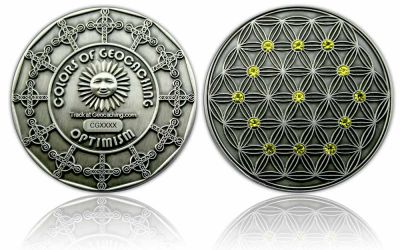 The Colors of Geocaching Geocoin - OPTIMISMUS - Antik Silber