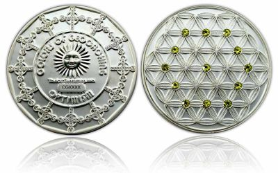 The Colors of Geocaching Geocoin - OPTIMISMUS - Satin Silber LE