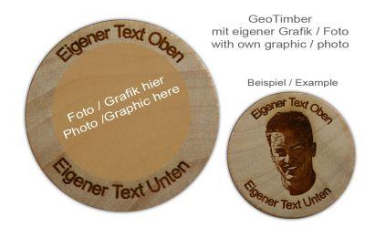 GeoTimber (eigenes Foto oder Logo) + Dein eigener Text