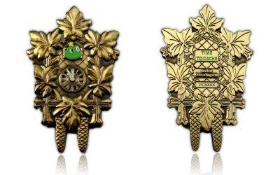 Signal the Frog Clock Geocoin Antik Gold