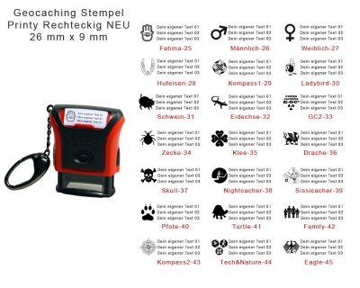 Geocaching Stempel Printy mit Karabiner RECHTECKIG NEU