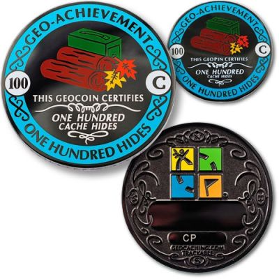 Geo-Achievement® 100 Hides Geocoin Set (inkl. Pin)