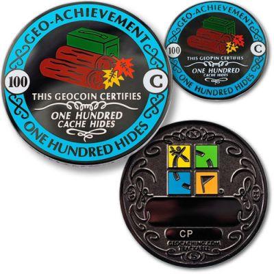 Geo-Achievement? 100 Hides Geocoin Set (inkl. Pin)