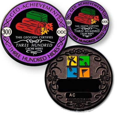 Geo-Achievement? 300 Hides Geocoin Set (inkl. Pin)