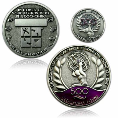 Geo Award Geocoin - 500 Finds Set (inkl. Pin)