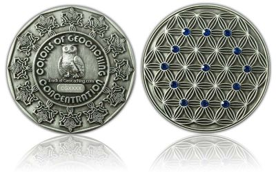 The Colors of Geocaching Geocoin -CONCENTRATION- Antik Silber