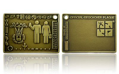 Geocacher Plaque Geocoin Antik Gold XLE