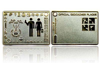 Geocacher Plaque Geocoin Satin Silber / Gold