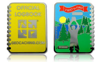 First To Find Log Geocoin Poliertes Silber