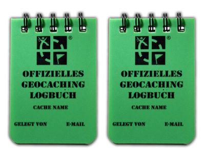 Kleines Spiral Geocaching.com Logbuch A8 gr?n (2er Pack) DEUTSCH