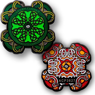 Celtic Lucky Clover Geocoin Black Nickel