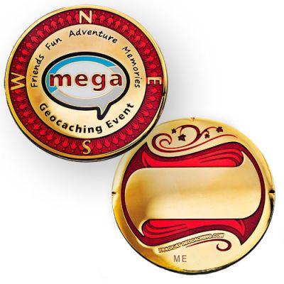 Event Geocoin Mega  - Poliertes Gold