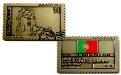 Geocacher's World Geocoin -PORTUGAL- Antik Gold