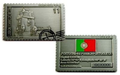 Geocacher's World Geocoin -PORTUGAL- Antik Silber