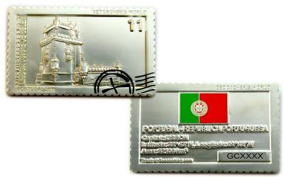 Geocacher's World Geocoin -PORTUGAL- Satin Silber LE
