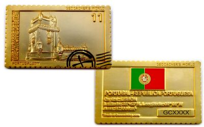 Geocacher's World Geocoin -PORTUGAL- Satin Gold LE