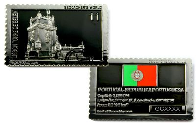 Geocacher's World Geocoin -PORTUGAL- Black Nickel / Silber LE