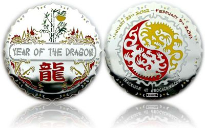 Year of the Dragon Geocoin Poliertes Silber