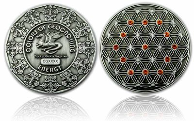 The Colors of Geocaching Geocoin -ENERGY- Antik Silber