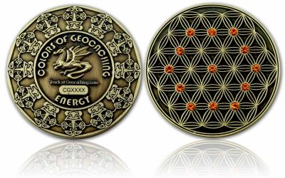 The Colors of Geocaching Geocoin -ENERGY- Antik Gold