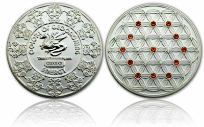 The Colors of Geocaching Geocoin -ENERGY- Satin Silber LE