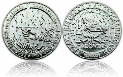 Medieval Caching Geocoin Poliertes Silber XLE