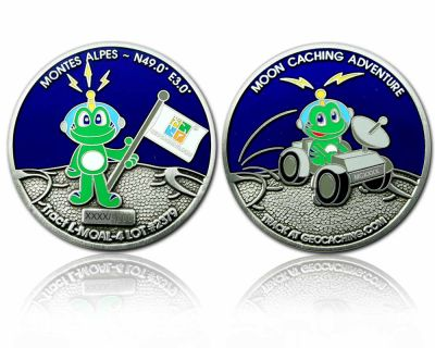 Moon Caching Adventure Geocoin Antik Silber