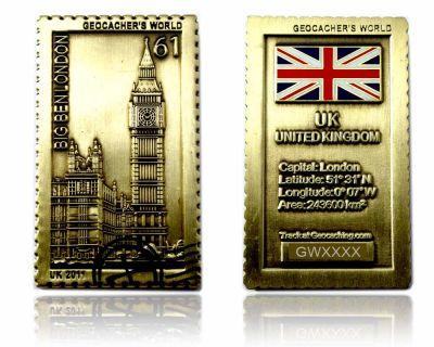 Geocacher's World Geocoin -UNITED KINGDOM- Antik Gold